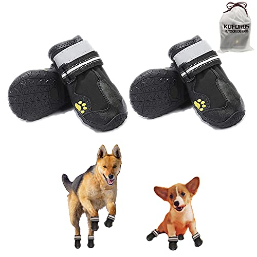 KOFORUS Dog Shoes for Hot Pavement Summer Small Medium Large Dog Boots Heat Protection Paw Adjustable Reflective Straps Waterproof Non-Slip Sole (4PCS)