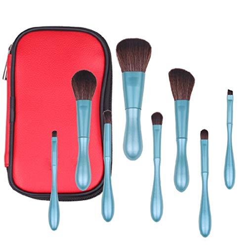 QXX-Make-up Brush Pinceau de Maquillage Set, 8Pcs Doux Cheveux synthétiques Ombre à paupières Pinceau à lèvres Ligne (Bleu)