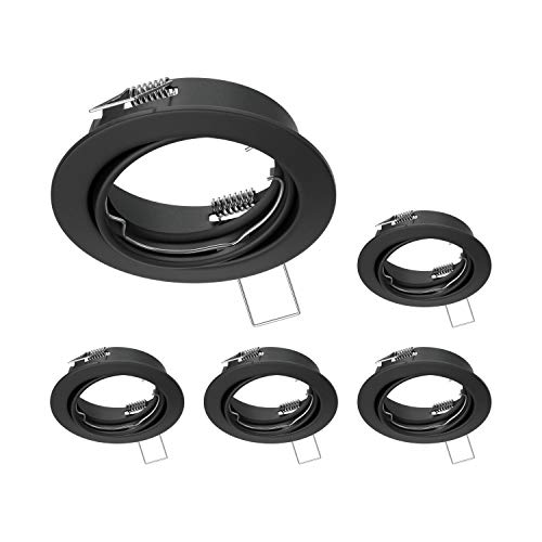 ledscom.de Marco de montaje en el techo FERE Marco de montaje negro mate giratorio (LED/Halógeno/GU10/MR16/PAR16/50mm), 5 pcs.