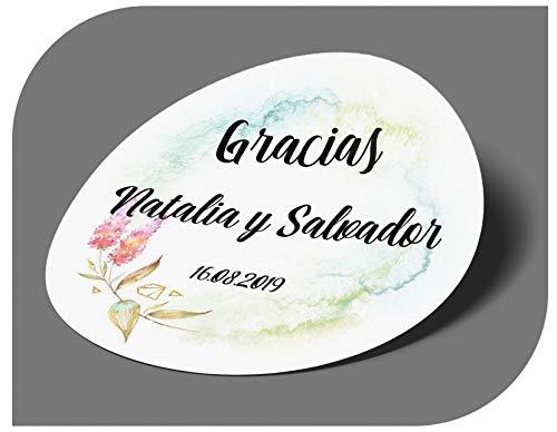 CrisPhy Pegatinas Personalizadas Boda con Nombre y Fecha, Etiquetas Adhesivas para Invitacion...