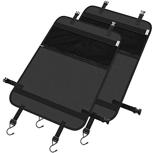 LIONSTRONG Organizador asiento coche - universal multi-bolsillo protector trasero del asiento de coche para niños - kick mats (2-SET)