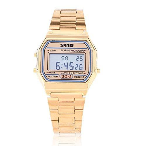 Horloges voor mannen, digitaal LED-achterlicht elektronische roestvrij stalen beugel-horloge rechthoekig polshorloge (goud)