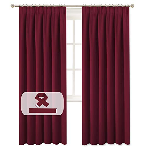 BellaHills Burgundy Blackout Curtains for Bedroom - Pencil Pleat Thermal Insulated Room Darkening Curtains for Living Room, Set of 2 Panels (66 x 90 Inch, Burgundy Red)