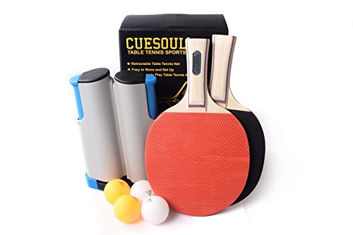 CUESOUL Retractable Anywhere Ping Pong Set with 2 Palas and 4 Pelotas Gris