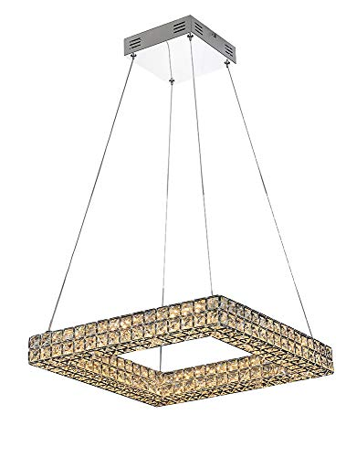 Mantra - Lámpara colgante Led 32 Watios cuadrada colección Crystal 45 x 45cm. Color cromo y cristal.