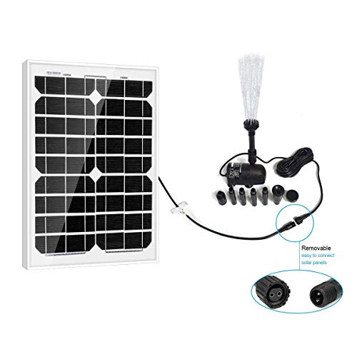 PowerEZ Solar Water Pump Kit-410GPH+Submersible Pump and 20 Watt Mono Solar Panel for Sun Powered Fountain, Waterfall, Pond Aeration, Hydroponics, Aquarium, Aquaculture (No Battery Backup)