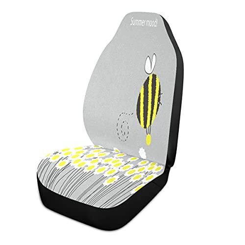 BOLOL Animal Bee Bumblebee Funda de asiento delantero de coche, protector de asiento de vehículo, margaritas florecientes, ajuste universal para auto, camión, furgoneta, SUV 1