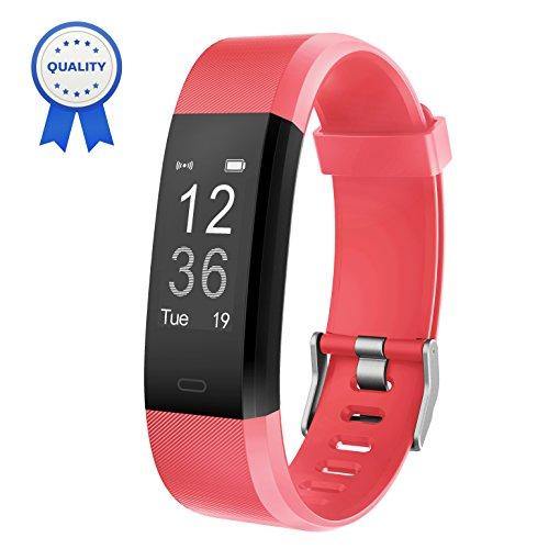 HolyHigh Fitness Armband YG3 Plus HR Pulsuhr Aktivitätstracker mit Herzfrequenz Monitor/wasserdichter/Schrittzähler/Anrufbenachrichtigungen/Ruhemodus/Kamerabedienung für Android und iOS (Rot)