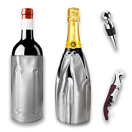PACK 2 Enfriador botellas de vino y cava, que incluye sacacorchos y tapon antigoteo. Funda enfriadora de gel para botellas de champan, enfriador rapido y duradero con cubierta ajustable.