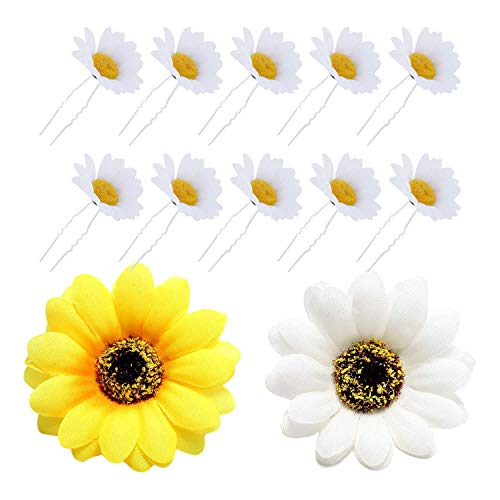 12 Pack Artificial Fake White Yellow Large, 12 Pack Sunflower Hair Clips and Pin