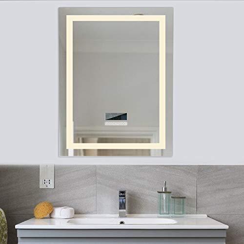 Espejo de baño, 24W + LCD Pantalla(fecha, hora, temperatura) + interruptor táctil + IP67 impermeable + anti-vaho + audio Bluetooth + LED de color ajustable (blanco frío / blanco cálido), 60 * 80 cm