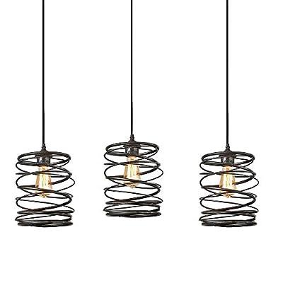 KIVEN H-Type 1-Light Track Pack Restaurant Chandelier Decorative Chandelier Cage Pendant Light Industrial Factory Pendant Lamp,Bulb Include