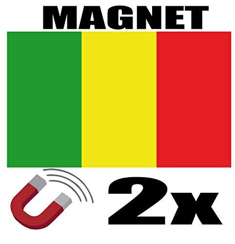 SAFIRMES 2 x Mali-Flagge, magnetisch, 6 x 3 cm