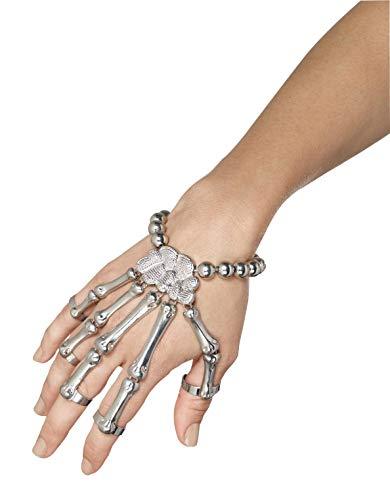 Smiffys Bracelet main de squelette, Argent