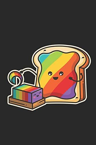 Notizbuch: 109 Seiten A5 - Liniert - Tolles Geschenk für Kinder und Freunde - Süße Lustige Kawaii Chibi Regenbogen Butter Auf Brot