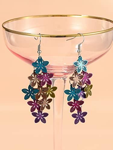 NCOEM Pendientes Elegantes de Las Mujeres Pendientes de Gota de Flores Regalo de Joyas del día de la Madre del cumpleaños (Color : Multicolor)