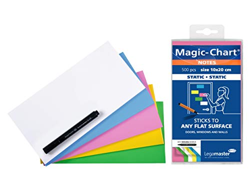 Legamaster 7-159499 Magic-Chart Notes, elektrostatische Haftnotizen, 10 x 20 cm, 500 Blatt, sortiert