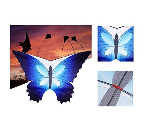 Eva Shop® Novedad Premium Mariposa Grande Cometa Infantil – Cometa de poliéster Ripstop para niños Cometa con mango enroscable y 30 m de hilo de dragón 120 x 80 cm