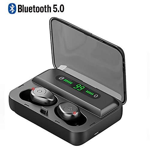 Braveking1 Auriculares Inalámbricos, Auriculares Bluetooth Deportivos Bluetooth 5.0 IPX7 Impermeable 50 Horas Autonomía con 1500mAh Caja de Carga Mic Cascos Bluetooth Deporte para iOS Android,Negro