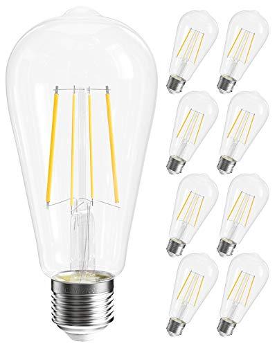 SHINESTAR 8-Pack Dimmable LED Edison Light Bulbs Soft White 2700K, 60 watt Equivalent, E26 Base, ST58 ST19 Antique Vintage LED Filament Bulb, Decorative LED Clear Light Bulb