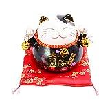 GARNECK Hucha japonesa de cerámica Neko Lucky Cat Coin Bank Feng Shui Piggy Box Luck And Fortune Figuritas de colección Estatua para 2021 New Year Ornament (negro)