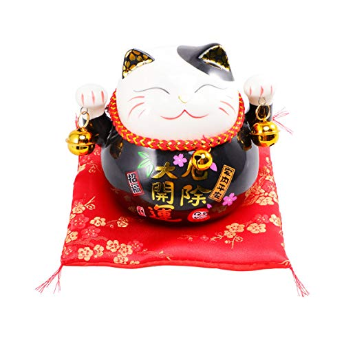 GARNECK Hucha japonesa de cerámica Neko Lucky Cat Coin Bank Feng Shui Piggy Box Luck And Fortune Figuritas de colección Estatua para 2021 New Year Ornament (negro)