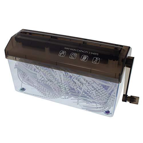 Smartfox tragbarer mini Papierschredder Aktenvernichter mit Kurbelantrieb für DIN-A4 Blätter