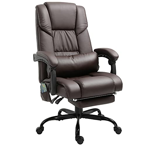 Vinsetto 6-Point PU Leather Massage Racing Chair Electric Padded Height Angle Adjustable 5 Wheels w/Remote Home Office Comfort Masseuse Relaxation Swivel Ergonomic Brown