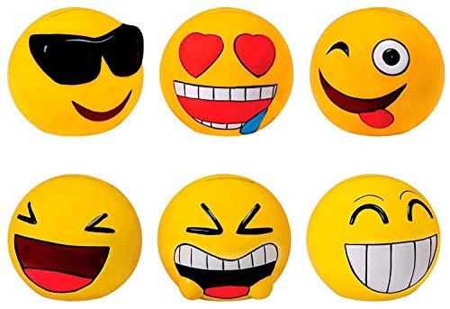 DISOK - Lote de 24 Huchas Emoticonos - Huchas Divertidas Originales Emoticonos - Regalos, Regalo, Detalles de Primera Comunión, Comunión, Cumpleaños