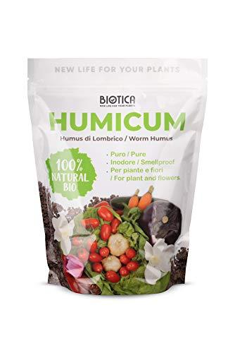 Biotica Humus di Lombrico HUMICUM - 3 Litri - Fertilizzante 100% Naturale - New Packaging in Confezione salvafreschezza