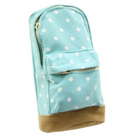 ZXUY Mini School Bag Pen Case Student's Canvas Pencil Case Children Pen Bag (Blue)