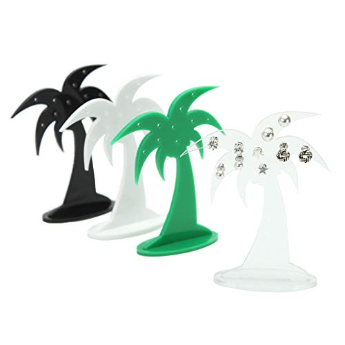 Plastic Online Palm Tree Earring Stud Display Stand Acrylic Holder Jewellery (Green)