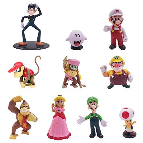 NALCY Super Mario Figures Cake Topper, 10PCS Personaggi Super Bros Super Mario Birthday Decorazioni Party Supplies per Bambini Doccia di Compleanno Decorazioni