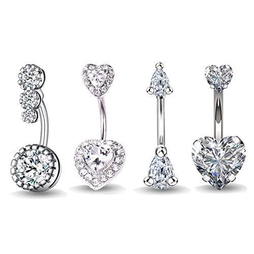 4 piezas Barras de vientre 14G 316L Anillos de ombligo de acero quirúrgico para mujeres Niñas Anillos de ombligo CZ Body Piercing (4 piezas)