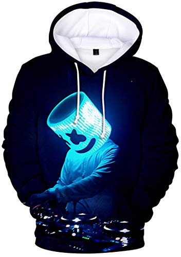 OLIPHEE Men's Fashion 3D Prints Hoodies DJ Inspired Graphic Pullover Jumpers Casual with Pockets Black Blue S