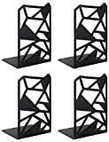 Book Ends, Bookends, Veecom Geometric Metal Bookends for Shelves, Decorative Bookend Heavy Duty