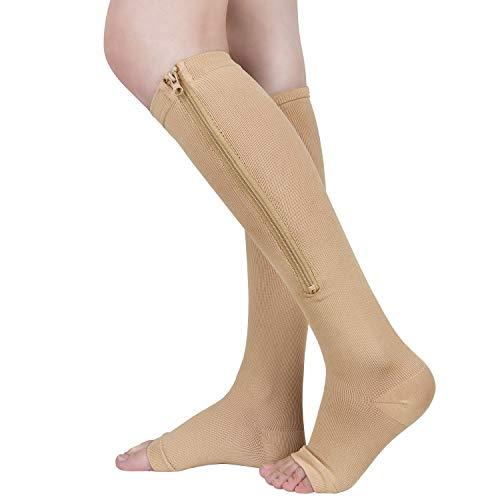 2 Pairs Zipper Compression Socks 15-20 mmHg for Men Women, Open Toe(Beige, L/XL)