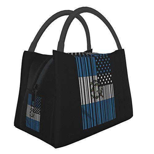 Bolsa de almuerzo portátil con código de barras, impermeable, gran capacidad, para oficina, escuela, picnic y mamá