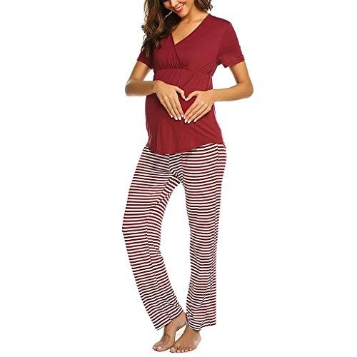 Pigiama Allattamento Set Maglietta da Donna Premaman con Scollo A V Allattamento per Neonato + Set di Pigiami per Pantaloni A Righe Camicia Allattamento Manica Corta