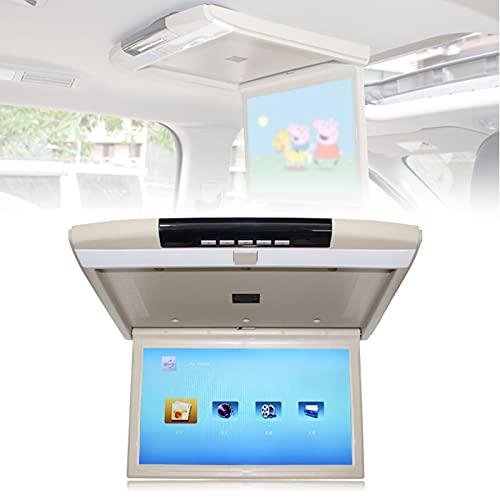 wansosuper Monitor Abatible para Techo De Coche De 15 Pulgadas, TV De Techo, Reproductor De Techo para Coche, Monitor Montado En El Techo con Tarjeta USB/SD/Puerto Hdmi,Beige