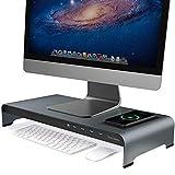 Vaydeer Supporto monitor con ricarica wireless Supporto monitor scrivania in alluminio con 4 porte USB Supporta il trasferimento e la ricarica dei dati, supporto per monitor fino a 32'per PC, laptop