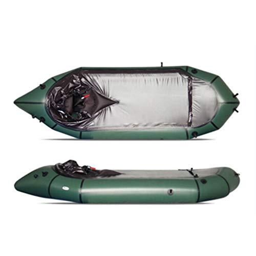 CARGA GRANDE: Este kayak puede soportar 200 kg de peso, suficiente para 1 persona en funcionamiento, espacio suficiente y cómodo de usar. Hecho de material de PVC espesado de alta calidad que tiene un grosor de 0,3 mm, puede resistir rasgaduras, alta...