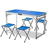 Mesa de Picnic Plegable de Aluminio con 4 Silla Plegable,mesa y Sillas de Camping Portátiles de Altura Ajustable,para Office Garden OutdoorCamping,Dining,BBQ Party,120x60x74cm (blue)