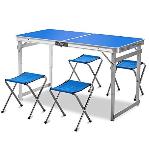 Mesa de Picnic Plegable de Aluminio con 4 Silla Plegable,mesa y Sillas de Camping Portátiles de Altura Ajustable,para...