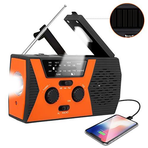 [2020 Upgraded Version] RegeMoudal Emergency Solar Hand Crank Radio, NOAA Weather Radio for Emergency with AM/FM, LED Flashlight, Reading Lamp, 2000mAh Power Bank and SOS Alarm (Black Orange)