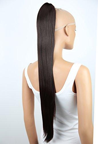 PRETTYSHOP 70cm Haarteil Zopf Pferdeschwanz Haarverlängerung Glatt Schokobraun H75