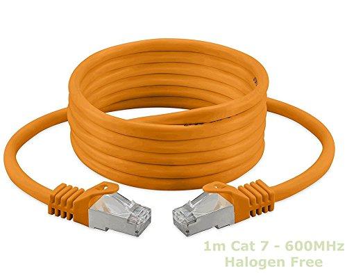 1m Ethernet Kabel, Cat, 7, S/FTP, PiMF, Halogen Free 600 MHz für Streaming/IPTV/Media Player/Sat-Receiver/Netzwerk-Server/Desktops PC/Super Fast Ethernet Kabel mit Gold Pin Steckern