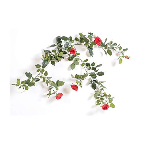 Flore Office - Guirnalda de rosas artificiales (140 cm), color rosa