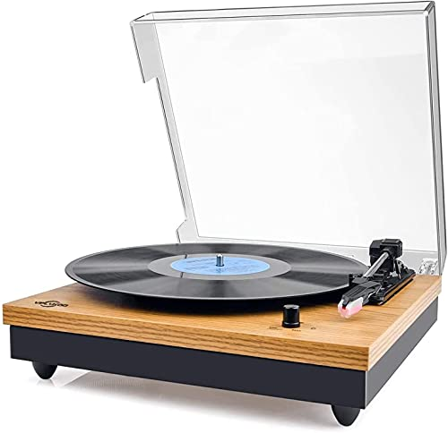 Record Player, Bluetooth Portable Vinyl Turntable and Digital Encoder Built-in 2 Stereo Loudspeaker and Belt Drive,Aux-In,RCA ,3 speed 33 45 78 RPM - Natural Wood