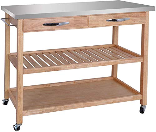 ZenChef Rolling Kitchen Island Utility Kitchen Serving Cart w/Stainless Steel Countertop, Spacious Drawers and Lockable Wheels, Natural